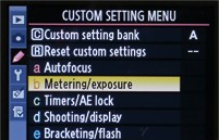 Custom setting menu