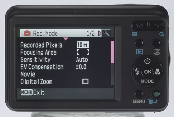 Pentax Optio E90 product image - back view
