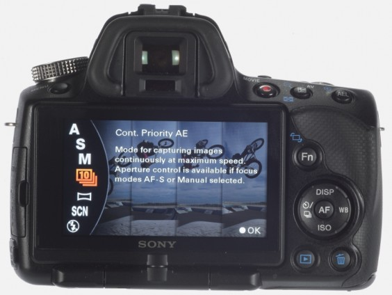 Sony Alpha A55 product shot - back LCD